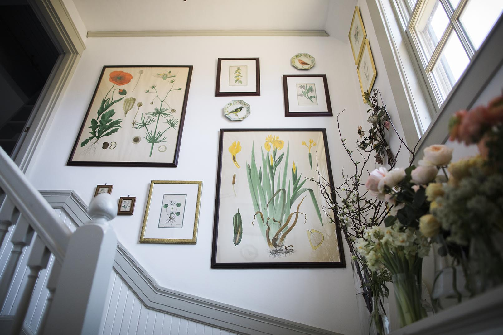 Staircase with antique pictures in frames